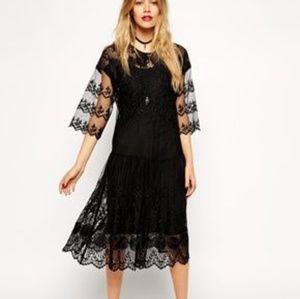 Asos vintage 1920s black lace shift dress
